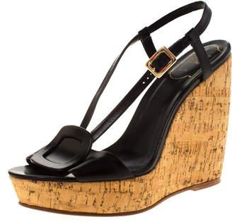 Roger Vivier Black Leather Cork Wedge Platform Sandals Size 40
