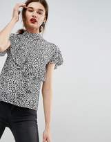 Asos Ruffle Blouse In Animal Print
