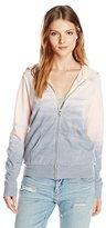 Monrow Women's Zip Up Hoody with Horizon Tie Dye