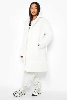 boohoo Petite Belted Duvet Puffer Coat