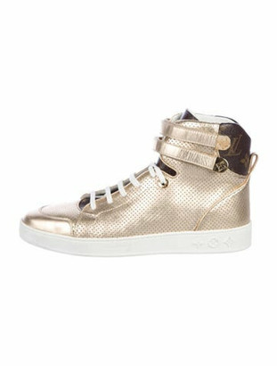 Louis Vuitton Leather Colorblock Pattern Sneakers Gold