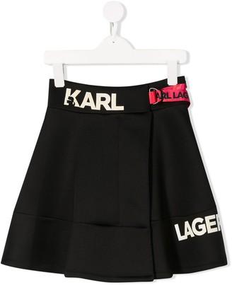 Karl Lagerfeld Paris Logo Flared Mini Skirt