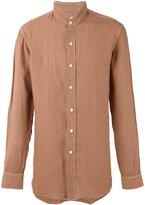 Salvatore Piccolo band collar shirt - men - Linen/Flax - 40