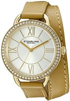 Stuhrling Original Women's Quartz Watch with Silver Dial Analogue Display and Gold Leather Strap 587.04