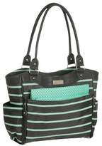 Carter's JOY Zip Down Front Fashion Tote Diaper Bag - Grey/Mint Green Stripe by