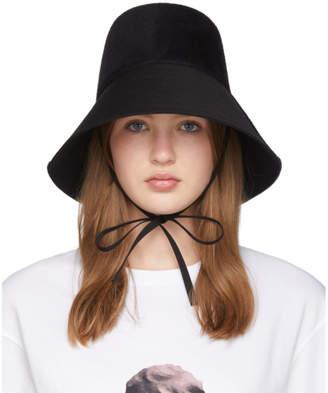 Valentino Black Felt Chin Tie Bucket Hat