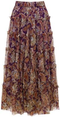 Zimmermann Ladybeetle Tiered Silk Midi Skirt