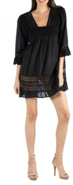 24seven Comfort Apparel Bohemian Embroidered Dress with Ruffle Detail
