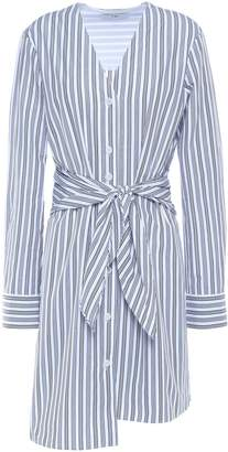 Tibi Liam Tie-front Striped Cotton-poplin Mini Shirt Dress