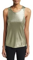 Halston Round-Neck Metallic Jersey Twist-Back Tank, Green