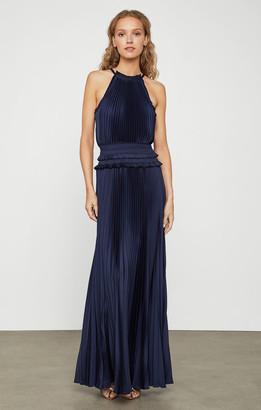 BCBGMAXAZRIA Satin Plisse High-Neck Dress