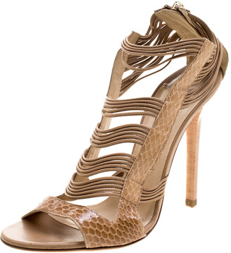 Jimmy Choo Beige Python Corsica Strappy Back Zip Sandals Size 37.5