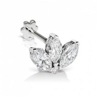 Maria Tash 3mm Diamond Lotus Engraved Thread Through White Gold Earring