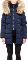 Point Zero Navy Faux Fur-Trim Hooded Ego Puffer Jacket