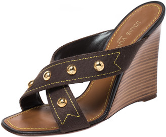 Louis Vuitton Brown Canvas Studded Wedge Cross Strap Sandals Size 40