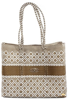 Lolas Bag Gold Stripe Travel Tote Bag With Clutch