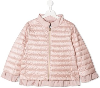 Herno TEEN ruffle trim puffer jacket