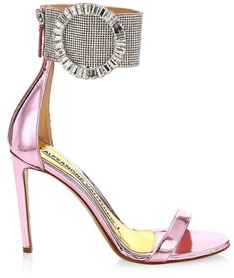 Alexandre Vauthier Joan Crystal-Embellished Mirrored Leather Sandals