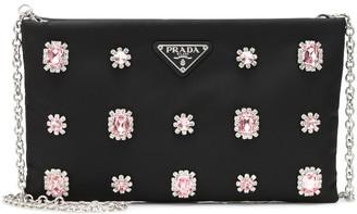 Prada Embellished nylon shoulder bag