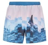 Boss Quick-dry swim shorts with abstract photographic print