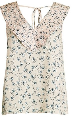 Ava & Aiden Pleated Collar Ditsy Floral Top