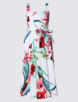 Marks and Spencer Cotton Rich Skater Midi Dress with Belt
