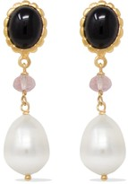 Vintouch Italy Onyx, Pink Quartz & Pearl Rose Gold Drop Earrings