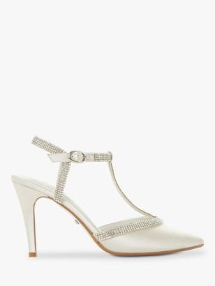 Dune Delightes Embellished T Bar Stiletto Heel Court Shoes, Ivory Satin