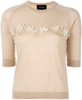 Simone Rocha embellished detail short sleeve knit top - women - Silk/Cashmere/Merino/glass - M