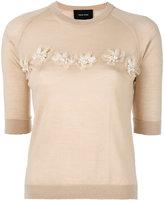Simone Rocha embellished detail short sleeve knit top - women - Silk/Cashmere/Merino/glass - M