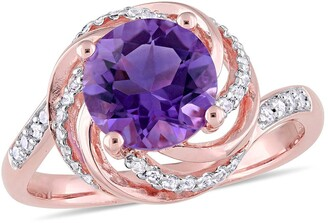 Delmar Rose Gold Plated Sterling Silver Amethyst, Pave White Topaz & Diamond Swirl Halo Ring