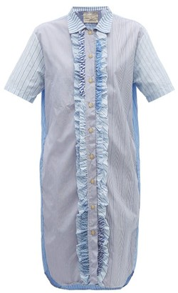 By Walid Oscar Patchwork Cotton-poplin Shirtdress - Blue Multi