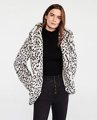 Ann Taylor Petite Leopard Print Faux Fur Coat