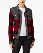 William Rast Sussex Denim Plaid-Contrast Jacket