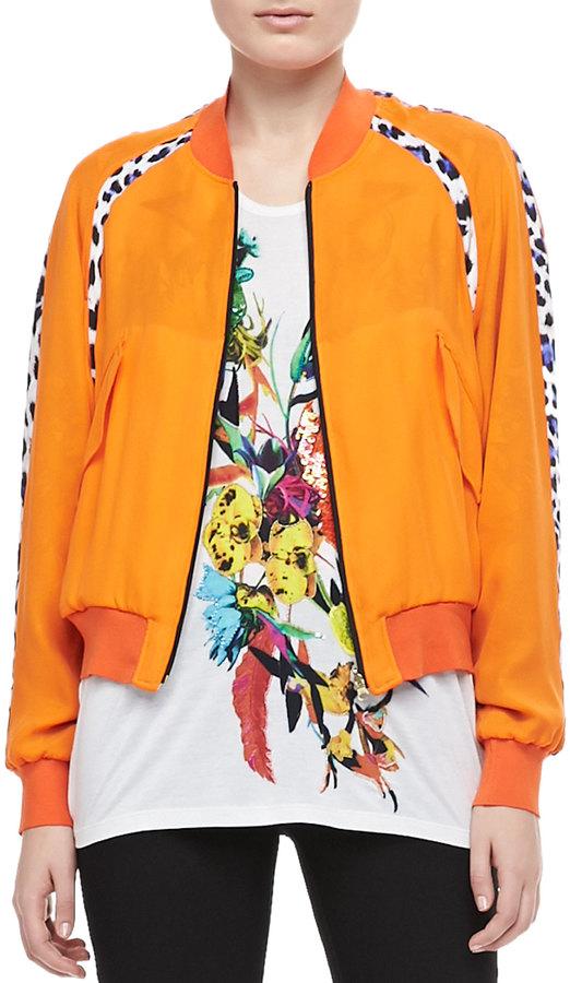 Just Cavalli Reversible Bomber Jacket, Orange/Multi