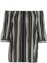 Quiz **Quiz Monochrome Striped Bardot 3/4 Sleeve Shirt