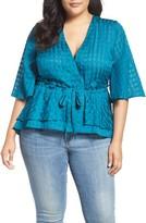Melissa McCarthy Plus Size Women's Tie Front Ruffle Blouse