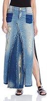 True Religion Women's Pieced Denim Skirt In Indigo Haze Destroyed