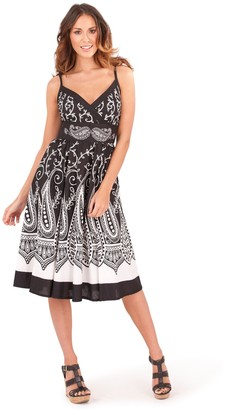 Pistachio Ladies 100% Cotton Paisley Print Strappy Mid Length Summer Dress with Crossover V Neck