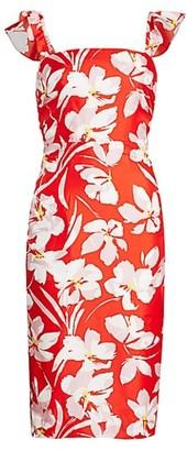 Milly Dayna Hibiscus Print Silk Twill Sheath Dress