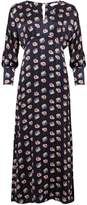 Phoebe Grace Sally V Neck Large Cuff Maxi Dress in Black Poppy Print