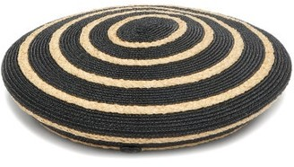 Maison Michel Idaho Striped Straw Beret - Black White
