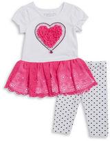 Flapdoodles Girls 2-6x Little Girls Heart Tunic and Leggings Set