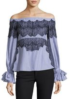 Tanya Taylor Isadora Off-the-Shoulder Striped Poplin Top w/ Lace