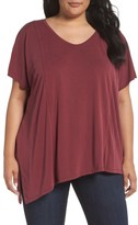 Sejour Plus Size Women's Asymmetrical V-Neck Tee