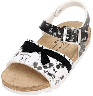 Mickey Mouse Print Faux Leather Sandals