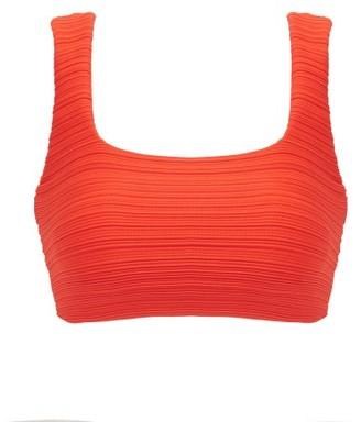 Mara Hoffman Raina Square-neck Ribbed Bikini Top - Womens - Orange