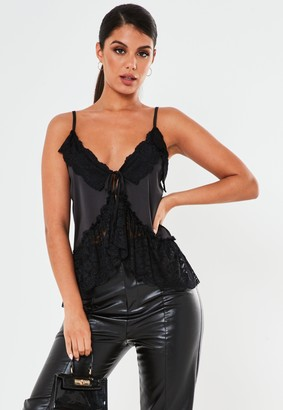 Missguided Black Satin Lace Trim Tie Front Cami Top