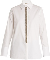 ADAM by Adam Lippes Embellished-placket cotton-poplin shirt