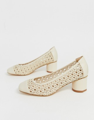 Co Wren woven square toe mid heels-Cream